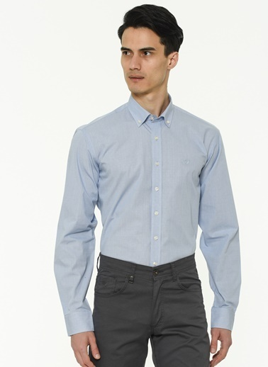 Beymen Business 4B2020100067 Regular Fit Gömlek Armürlü Mavi